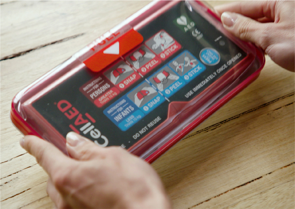 The world's first personal defibrillator, CellAED