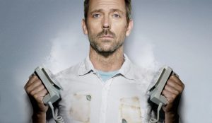 TV's Dr Gregory House providing an excellent demonstration on how NOT to use a defibrillator.